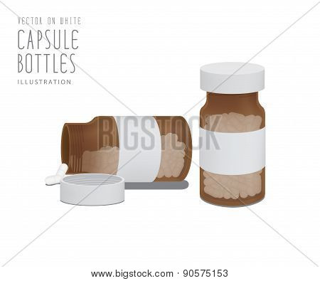 Drug Capsules In Brown Glass Bottle Vector.