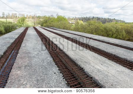 Old Bridge With Rusty Metal Rails