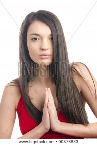Sexy Girl In Red Dress Praying.