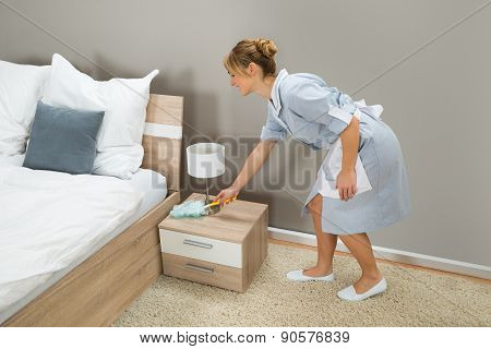 Maid Cleaning Dust With Feather Duster