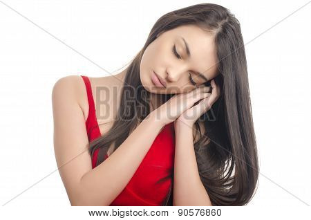 Sexy Girl In Red Dress Sleeping.