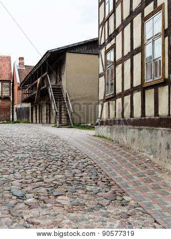 Historical Buildings In Old Town Of Kuldiga, Latvia