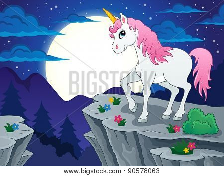 Night scenery with unicorn - eps10 vector illustration.