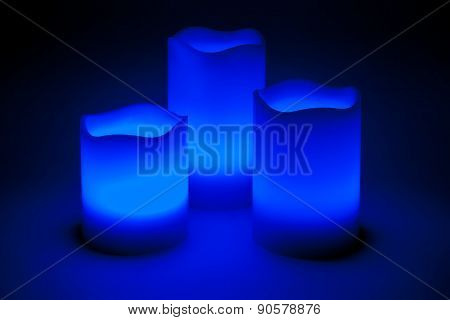 Three Blue Led Candles