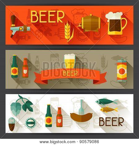 Banners with beer icons and objects in flat style