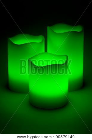 Three Green Led Candles