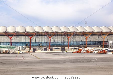 Airport Barajas In Madrid With The New International Arrival Gates