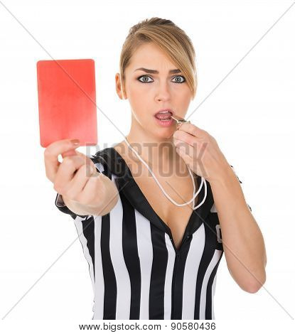 Female Referee With Red Card And Whistle