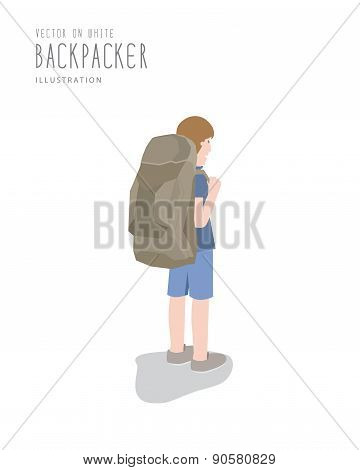 Backpacker On White Background Flat Vector.