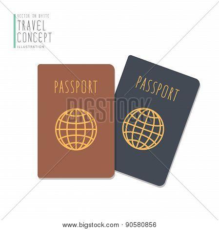 Passports Flat Vector.