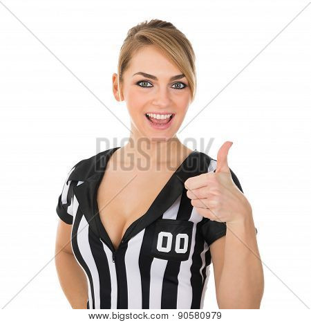 Female Referee With Thumbs Up Sign