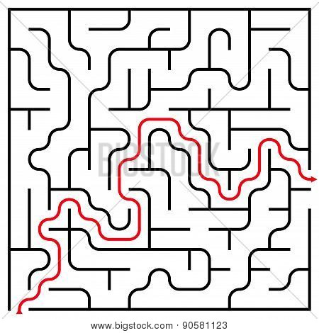 Black Square Maze (15X15) With Help