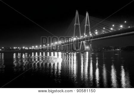 Cable Bridge At Night