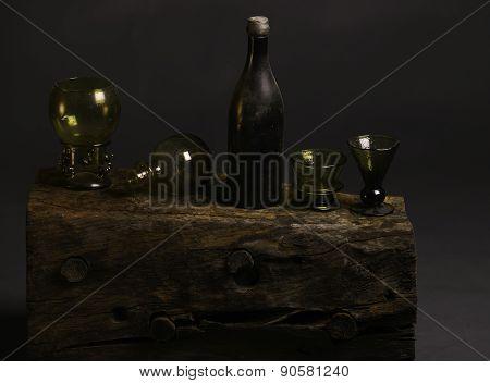 old style glas bottles