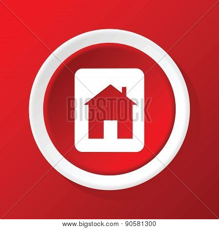 House sign icon on red