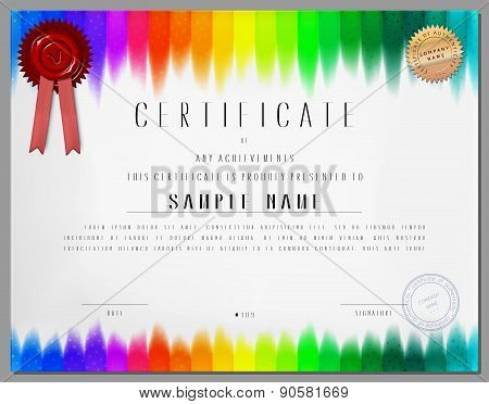 Gift Certificate, Diploma, Coupon, Award Of Course Completion Template With Rainbow Colored Stripped