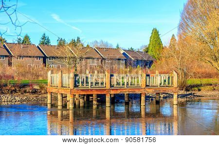 Wooden Deck By The Lake