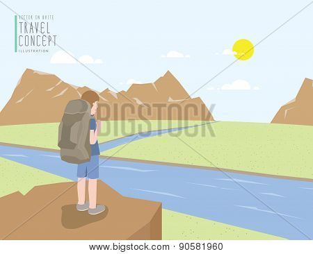 Backpacker Standing On A Cliff Looking Out To The Landscape Mountains View. On A Clear Day Flat Vect