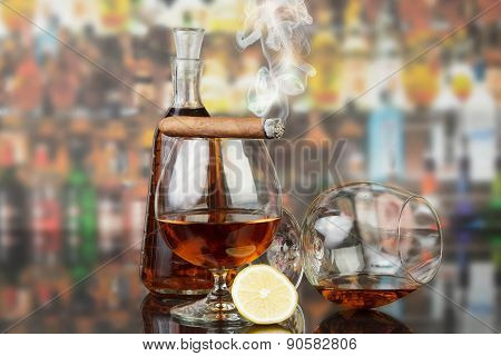 Whisky in glasses and cigar