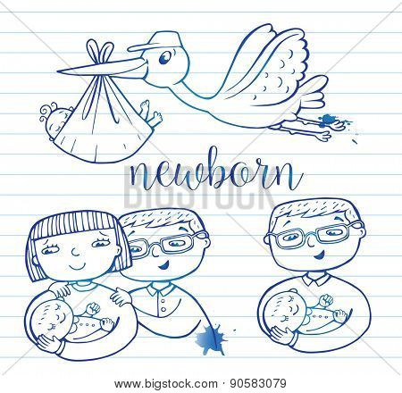 Set of hand-drawn doodle icons happy parents and stork.