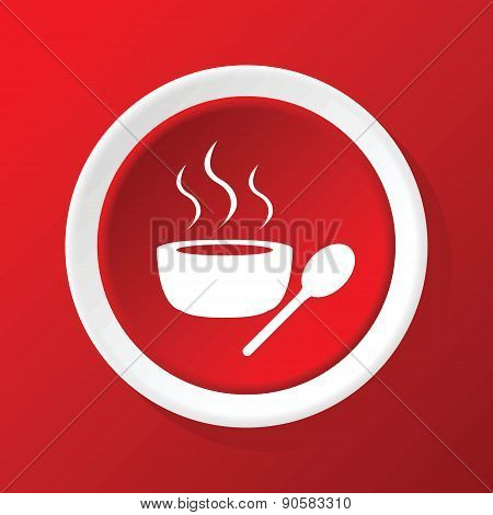 Hot soup icon on red