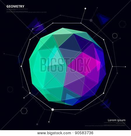 Circle Geometric Abstract Art, Circle Low Poly. Star Planet Concept. Vector Illustration.