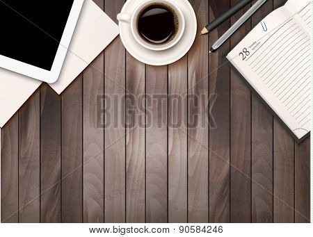Office workspace background - coffee, tablet, notebooks and paper on wooden table. Vector.
