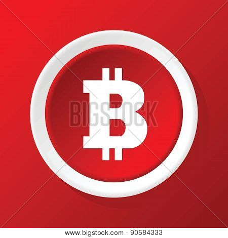 Bitcoin icon on red