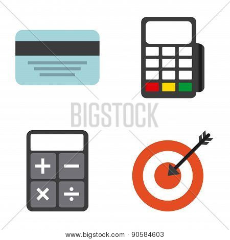 Dataphone, credit card, target and business icons, Vector illustration EPS 10
