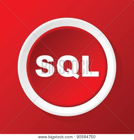 SQL icon on red