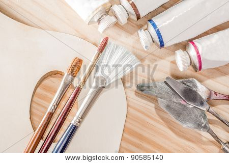 A Selection Of Oil Painting Tools