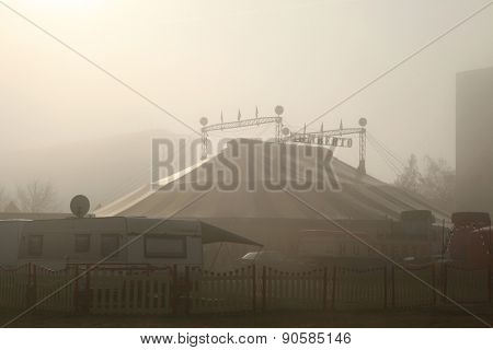 PRAGUE, CZECH REPUBLIC - NOVEMBER 20, 2011: Morning fog covers the circus tent of the Humberto Circus on November 20, 2011 in Prague, Czech Republic.