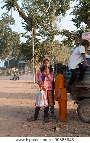 Indian Young Girls On The Street