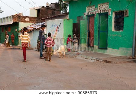 Indian Children Playing On The Street In The Village
