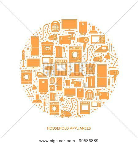 Household appliances flat icons