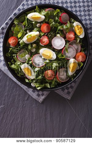 Fresh Salad With Egg, Radishes And Herbs Vertical Top View
