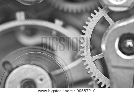 Macro, Black White Background With Metal Cogwheels