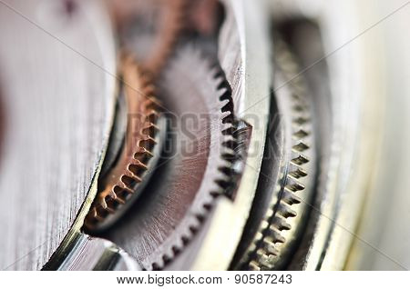 Macro, Background With Metal Cogwheels
