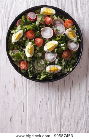 Fresh Spring Salad With Eggs Vertical Top View