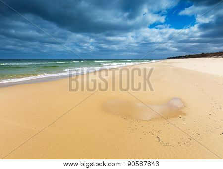 Beautiful View On Baltic Sandy Coast Photographed On Middle Of The Day