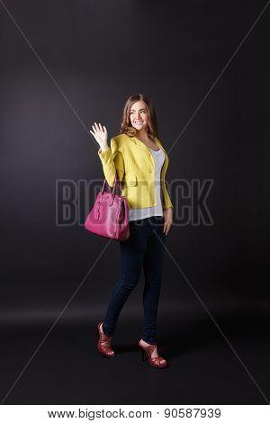 Happy Pretty Woman Waving