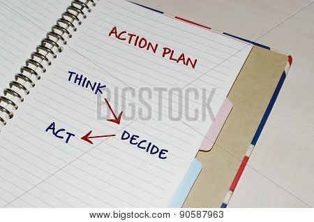 Action plan written on open agenda