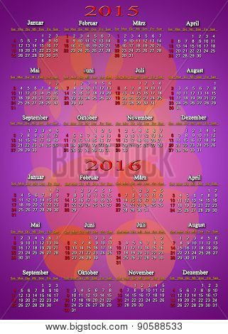Calendar For 2015 - 2016 In German