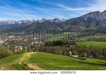 City Of Zakopane And Tatras Seen From The Top Of Gubalowka, Emphasize The Beauty Of The Polish Podha
