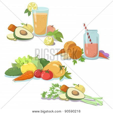 Smoothie. Fresh juice. Healthy diet. Fruit and vegetables. Clean food