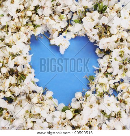 Floral Heart On A Blue Background
