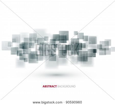Gray shiny squares technical background. Vector