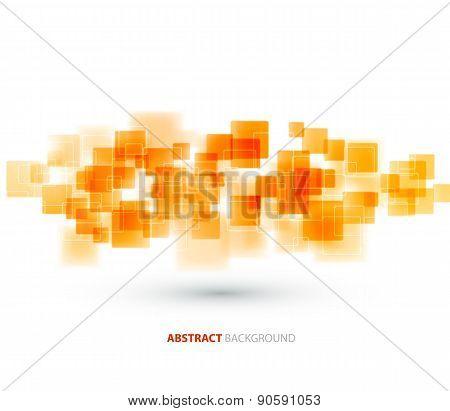 Orange shiny squares technical background. Vector