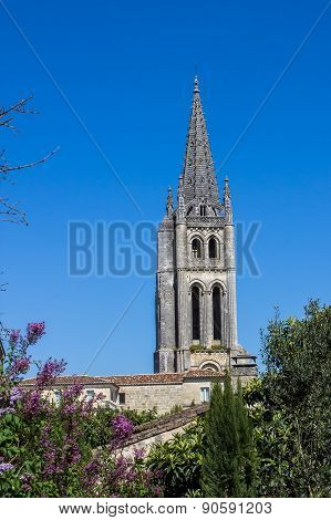 The Bell Tower Of The Monolithic Church In Saint Emilion, Near Bordeaux, France