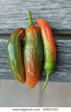 three semi-ripe serrano peppers on wood
